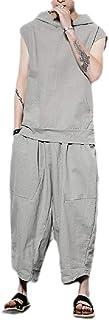 FSSE Mens Hoodie Hip Hop Loose Summer Cotton Linen 2 Pieces Outfits Plus Size Tracksuits