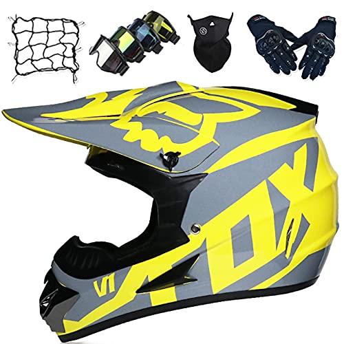 Casco Motocross, Casco de Descenso para Adultos, Casco de MTB Integral para Jóvenes y Niños con Gafas/Guantes/Máscaras/Red Elástica - Aprobado DOT/ECE - con Diseño Fox - Amarillo