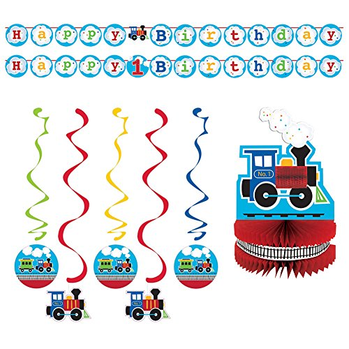 All Aboard Train Party Supplies Pack for 16 Guests | Shaped Ribbon Banner, Dizzy Danglers, and Honeycomb Centerpiece | Train Decorations for The Perfect Train Birthday Party | Train Party Supplies