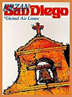 ERZANノスタルジックなデザインが人気のブリキ看板サンディエゴカリフォルニアユナイテッド航空ヴィンテージアメリカ合衆国旅行壁の装飾牌20x30cm