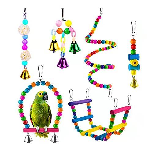 Fyfjur Juguetes de Loro Pájaro, 6 Piezas Juguetes para Pájaros Juguete Colgante para Mascotas, Juguetes de Loro Pájaro, Hamaca de Madera, Columpios, para Pequeños y Medianos Loros de Aves