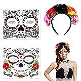 2 pcs halloween Tatuajes Temporales y 1 pcs Diadema de los Muertos,Día de los muertos Maquillaje,tocado mexicano,tela de rosas rojas, tatuaje de Halloween para adultos, niños
