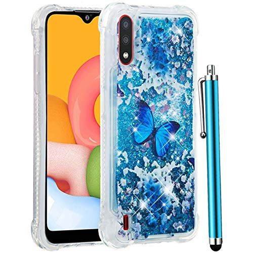 CAIYUNL for Galaxy A01 Case,Glitter Bling Floating Liquid Sparkle Quicksand Clear Soft TPU Silicone Hybrid Cute Phone Case Protective Shockproof Women Girls Cover for Samsung Galaxy A01-Blue Butterfly