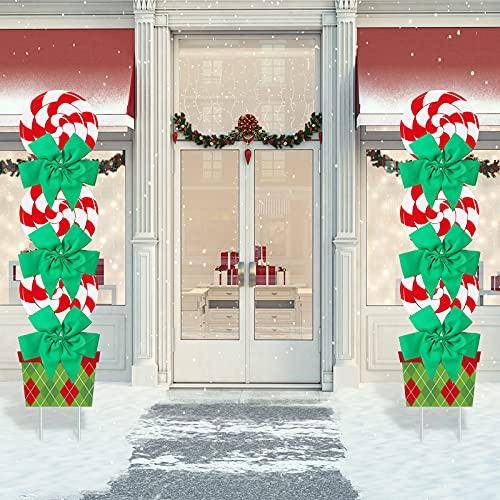 Blulu 2 Sets Segno dell'Iarda di Natale con 2 Rotoli di Luce LED da 3,28 Yarde Paletto da Giardino di Natale Grande da 44 Pollici Segno De Cortile di Menta Piperita con Fiocchi Verdi