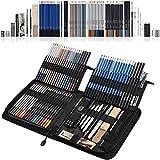 SHYOSUCCE 83pcs Lápices de Colores y Lápices de Dibujo con Accesorios de Dibujo, Bolsa de Lápices, Lápices de Acuarelables para Bocetos, Sombreados y Colorantes