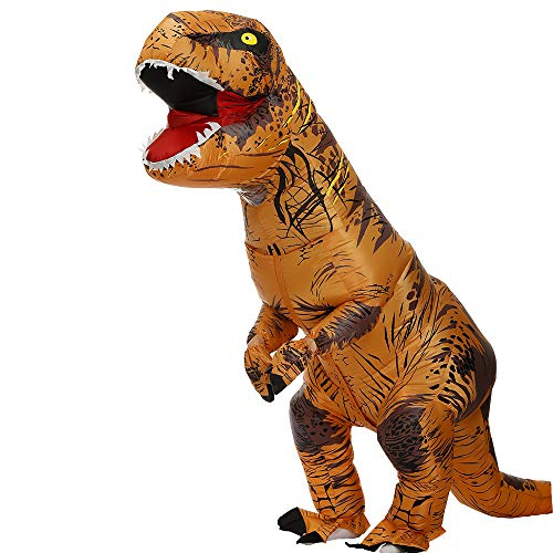 Disfraz inflable de dinosaurio para adulto T-Rex Fancy Dress Christmas Game Cosplay Dress para Halloween Disfraz inflable infantil (marrn, L)