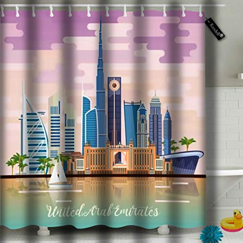 Axtuxdell Bathroom Curtains Shower Curtain Emirates UAE Modern Buildings in Light Bathroom Decor Set with Hooks 72 by 8561 Inches 60'(W) 72'(L).