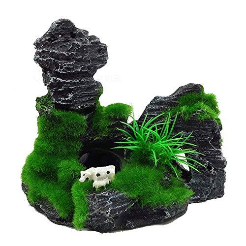 RIFNY Aquarium Pflanzen Deko, künstliche Aquariumpflanze, Plastikpflanzen Fuer Aquarium Dekoration-Stone
