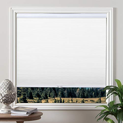 Grandekor Blackout Shades Cordless Blinds Cellular Fabric Blinds Honeycomb Door Window Shades, 26W x 48H inch,White