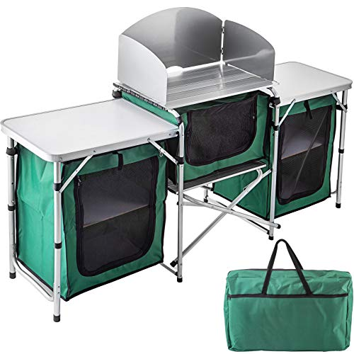 Folding Cooking Table with Storage Organizer and Windscreen, Aluminum Camping Kitchen Quick Set-up and Lightweight, Outdoor Portable Cook Station for BBQ, Party, Camping