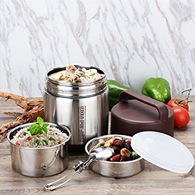 Insulated Lunch Box Food Carrier Bento Box 3 Tiers Stainless Steel Lunch Containers Heat Holding 8hr with Folding Spoon 1.6L (Silver)