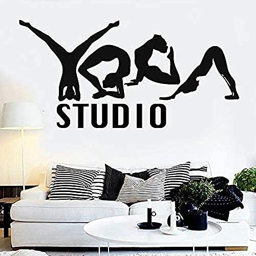 Etiqueta de la pared de PVC removible etiqueta de la pared Yoga Girl Lotus Pose eliminar dormitorio Yoga Studio decoración del hogar arte 57x115cm