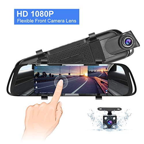 Mirror Dash Cam, 7' IPS Touch Screen 1080P Rotating Front Camera and Rear View Camera Dual Lens Dash Cams...