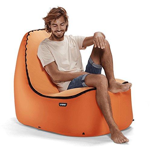 TRONO Aufblasbarer Sitzsack Sessel Camping Outdoor Stuhl Sitz orange