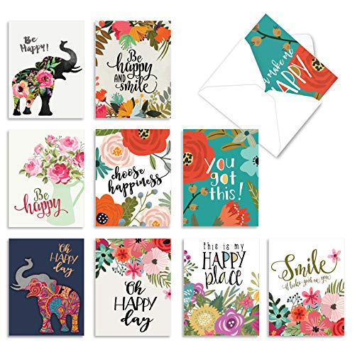 Optimisms - 10 Boxed Inspirational Note Cards with Envelope (4 x 5.12 Inch) - Motivational All Occasion Greeting Notecard Set - Stay Positive, Assorted Stationery Card Pack M6631OCBsl