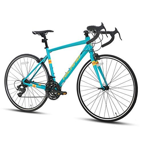 Hiland Rennrad 700c Rennrad Aluminium City Commuter Fahrrad mit 21 Geschwindigkeiten Schwarz 49CM