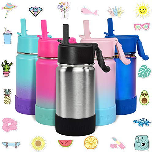 CHILLOUT LIFE 12 oz. Insulated Water Bottle with Straw Lid for Kids