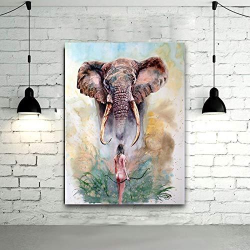 Rahmenlose Malerei Moderne Mädchen und Elefant Wandkunst Leinwand Wohnzimmer Leinwand Kunstdruck dekorative MalereiZGQ4633 30X40cm