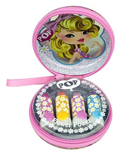 POP lippenstiftdoos met ritssluiting en pop-motief met 4 trendy lippenstiften