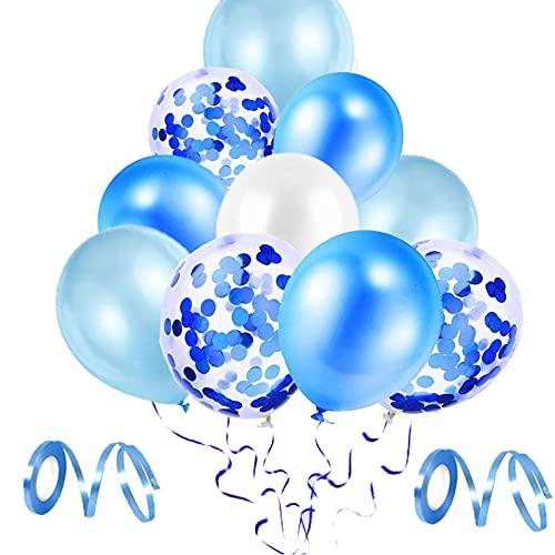 Luftballons,64 Stück Blau Geburtstag Luftballons Konfetti Ballons mit Band Latex Ballons Dekoration Ballons Party Ballons für Geburtstag Babyparty Hochzeit (Blau)