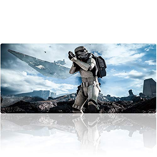 Beymemat XXL Large Gaming Mouse Pad (35.4x15.7 in), Non-Slip Rubber Base Mousepad with Stitched Edges for Work & Game (90x40 Star wars013)