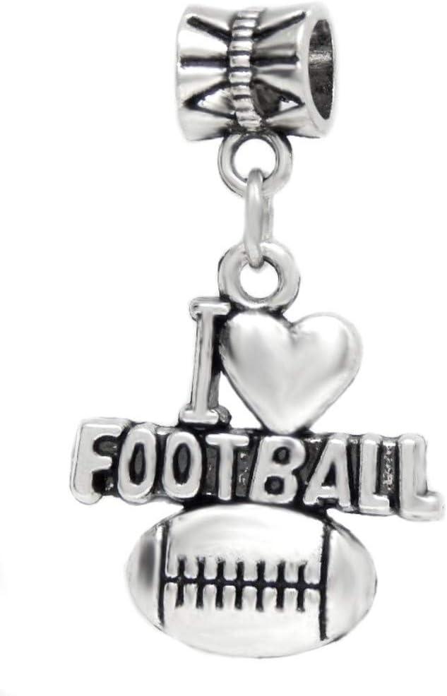 J&M Dangle I Love Football Charm Bead for Bracelets