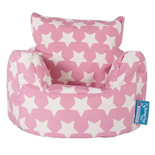 Lounge Pug®, Fauteuil Enfant, Pouf Enfant, Imprimé Rose étoile
