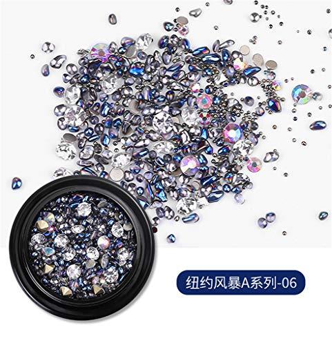Janly Clearance Sale Taladro de arena de cristal de diamante roto en caja negra para mujer, arte de uñas en casa (F)