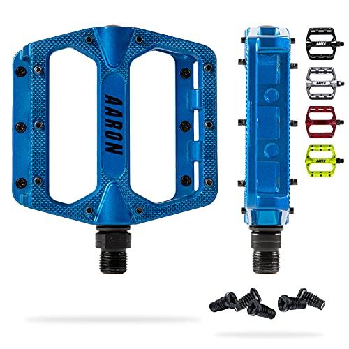 AARON Rock - Pedales de MTB con rodamientos sellados de Calidad - Superficie Antideslizante con Pins Intercambiables - Azul
