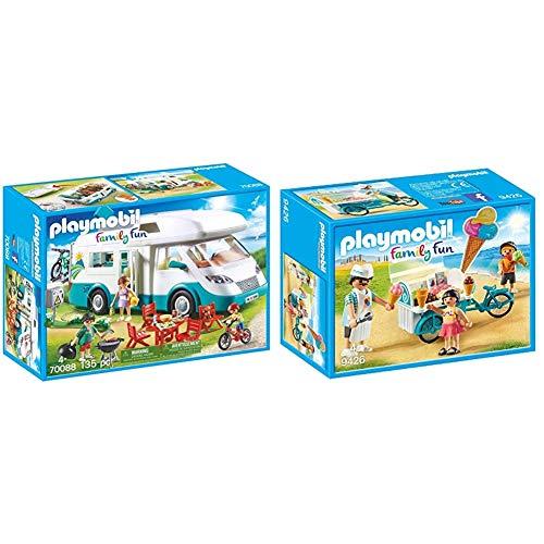 Playmobil Family Fun 70088 Familien-Wohnmobil, Ab 4 Jahren & 9426 - Fahrrad mit Eiswagen Spiel