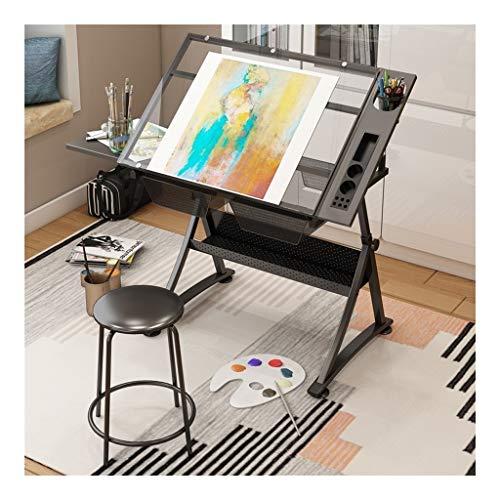 JDkilp Zeichentisch- Neigbar, Mit 2 Praktischen Schubladen Und Doppelter Arbeitsfläche,Für Kunst, Design, Schreiben, Malen, Basteln, Arbeit