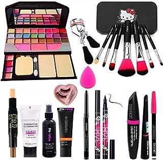 Rupali 7pcs Makeup Brush Set With Tya Makeup Kit, 3d Contour Stick, Primer, Fixer, Kajal, Waterproof 36h Sketch Eyeliner, ...