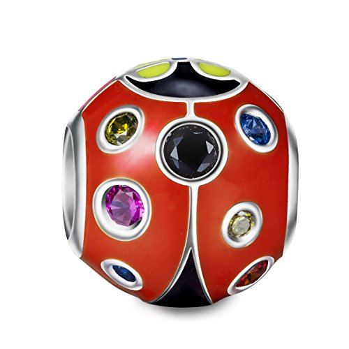 NinaQueen 'Ladybug' 925 Sterling Silver Red Enamel Animal Charms Christmas Gifts For Woman Birthday Gifts For Her Anniversary Gifts For Wife Mom Daughter Girls Girl Friends Granddaughter Kids