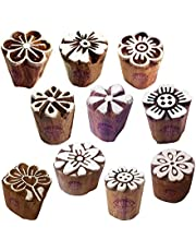 Henna Wooden Stamps Urban Small Round Floral Pattern Printing Blocks (Set of 10)