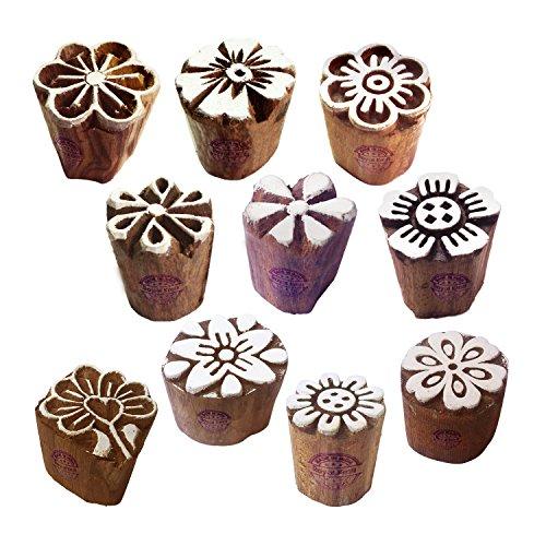 Royal Kraft Henna Holz Druck Schick Klein Runden Blumen Muster Blocke Stempel (Set von 10)