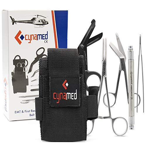 Cynamed First Responder Medical Tool Kit - Bandage Scissors, Magnetic Debris Remover, EMT Shears, Hemostat, Tweezers - Adjustable Multi-Pocket Nylon Belt Pouch - Paramedic, Nurse, Emergency Responders