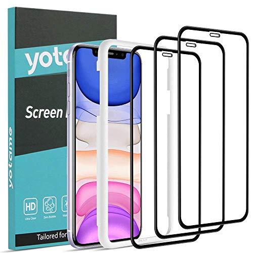 "yotame Protector Pantalla para iPhone 11/XR, 3 Piezas Cristal Templado iPhone 11 Cobertura Completa Vidrio Templado Anti-Burbujas Alta Definicion 9H Vidrio Cristal Templado para iPhone 11/XR 6,1"""