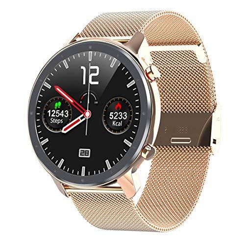 Full-Touch-smartwatch, EKG, Herzfrequenz, Blutdruck, Oximeter, Schrittzähler, wasserdichte Bluetooth-kamerauhr Goldstahl
