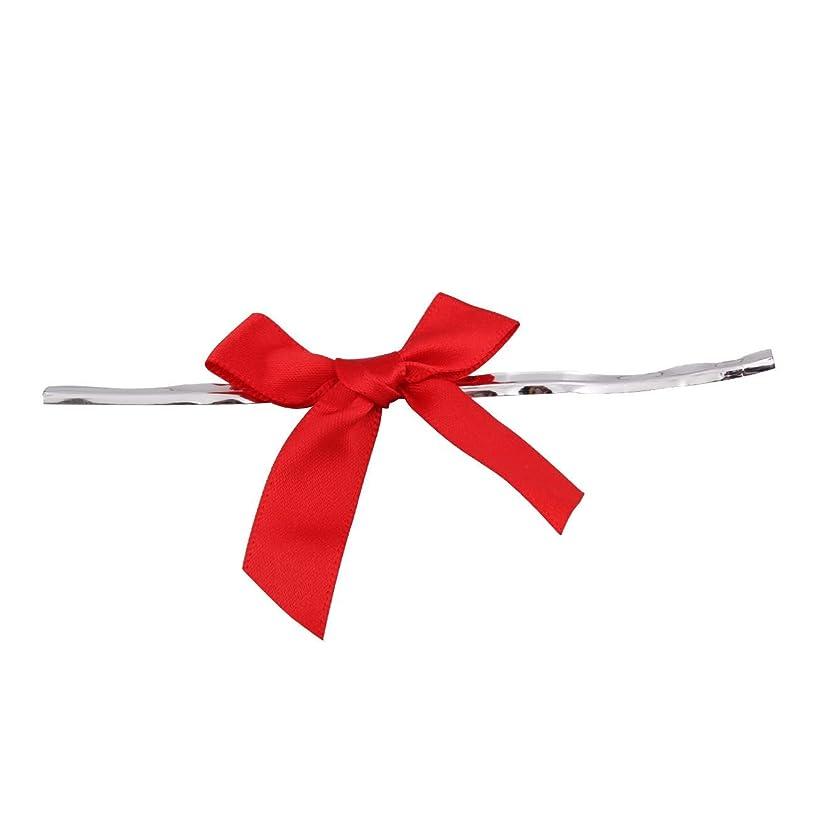 100 Piece Bow 2.5 Span X 1.75 Tails Twist Tie Ribbon, 1/2