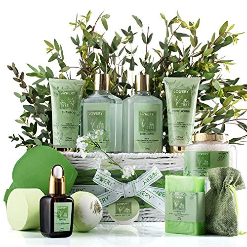 Tea Tree Bath Set - Luxury Aromatherapy Home Spa Set with Calming Mint Fragrance – 15 Piece Gift Basket - Tea Tree Bath Oil, Shower Gel, Bubble Bath, Handmade Soap, Steamer Tablet, Potpourri and More