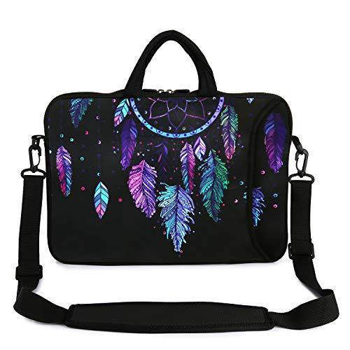 """Violet Mist 13"""" 15"""" 15.6"""" Neoprene Laptop Sleeve Bag Waterproof Sleeve Case Adjustable Shoulder Strap External Pocket(14' 15'-15.6', Dreamcatcher)"""
