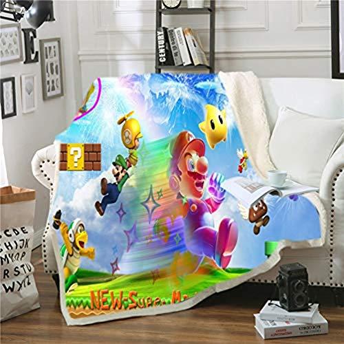 Manta de franela Super Mario Bros de Super Mario - Manta de franela muy suave, cálida y gruesa, utilizada en sillas, sofás, salones y dormitorios (C,100 x 140 cm)
