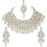 Aheli - Juego de Collar y Pendientes étnicos Indios Maang Tikka Kundan Bollywood Festive Jewelry para Mujeres y niñas