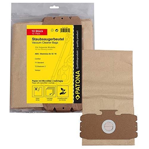 10x Bolsas de aspiradora papel para AEG Dimensión / Type 12 - AEG Comfort 1100 Electronic, Comfort Electronic Gs, Comfort Electronic Ti | GR12, GR15 | AEG Vampyr 1005, 1102, 1104, 1105, 2000 | Vampyr Exclusive 500 - 517, 6002 - 6009, 600 - 617, Edition 2000, Exclusiv 5020 (-1989) y mucho más... [ incl Microfiltro, resistente al desgarro ]