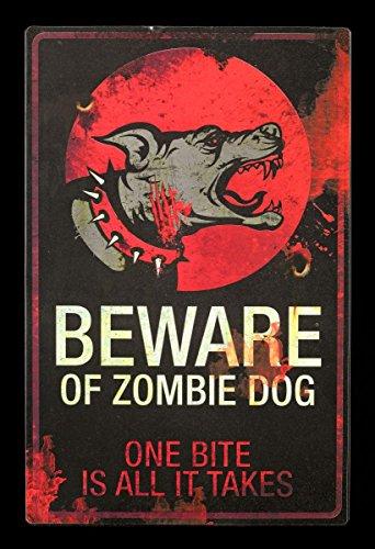 Poster – Beware of Zombie Dog – Chien Env. Plaque en métal Avertissement