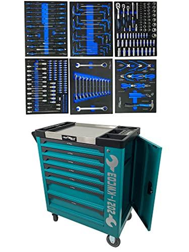 Kraftwelle Werkzeugwagen blau Werkstattwagen Modell 2021 mit Auszug kugelgelagert 7 Schubläden Ratsche Ringratsche Schraubendreher Zangen Werkzeugset Werkstatt