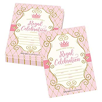 25 Vintage Princess Party Invitation Faux Glitter Royal Queen Little Girl Birthday Invite Kids Crown Mirror Pink and Gold Themed Bday Supply Idea Enchanted Tiara Printed or Fill in The Blank Card