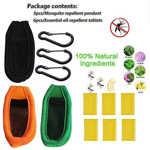 Takefuns Juego de colgantes repelente de mosquitos con 3 clips para cinturón, 6 tabletas repelentes de aceite esencial, antimosquitos, colgantes reutilizables para niños