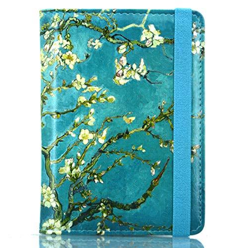Kandouren RFID Blocking Passport Holder Cover Case,Green Van gogh Flower travel luggage passport wallet made with PU Leather for Men & Women