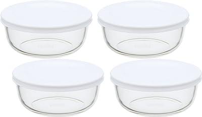 iwaki(イワキ) 耐熱ガラス 保存容器 S 400ml ×4個セット ごはん 1膳 パックぼうる KBC4140-W1